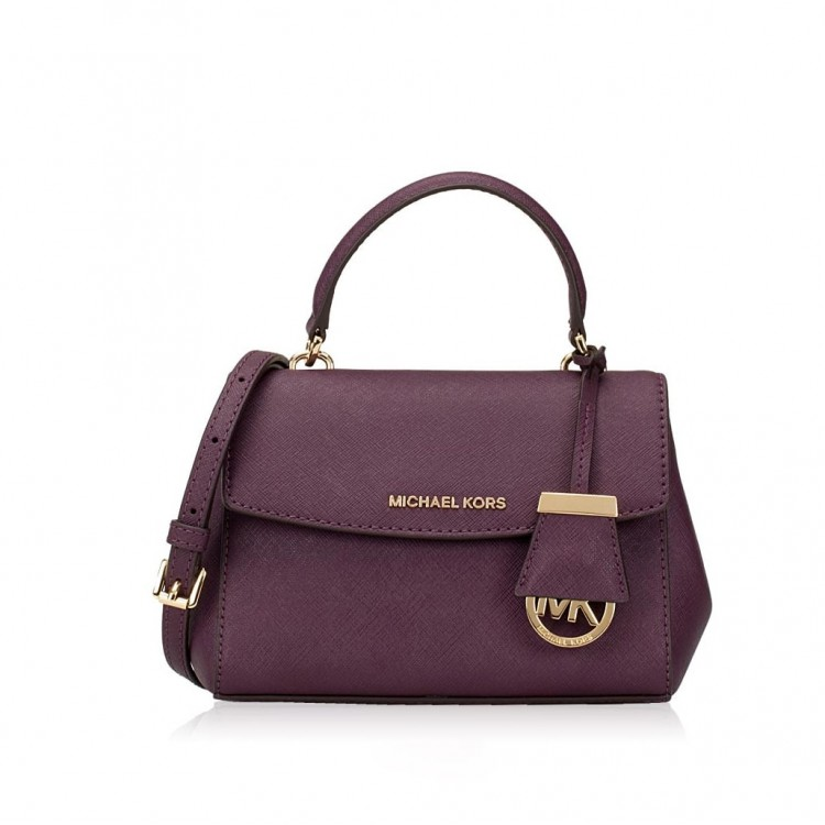 Сумка MICHAEL KORS  Ava Extra-Small Leather Crossbody Чернослив