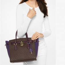 Сумка MICHAEL KORS Hamilton Large Color-block Чернослив