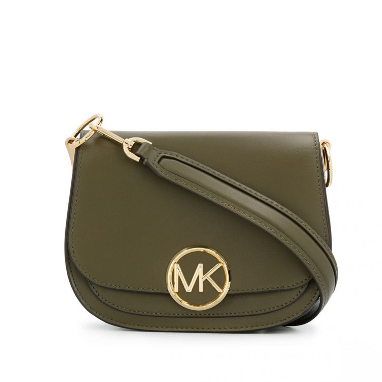 Сумка MICHAEL KORS Lillie Medium Leather Saddle Bag Оливковая