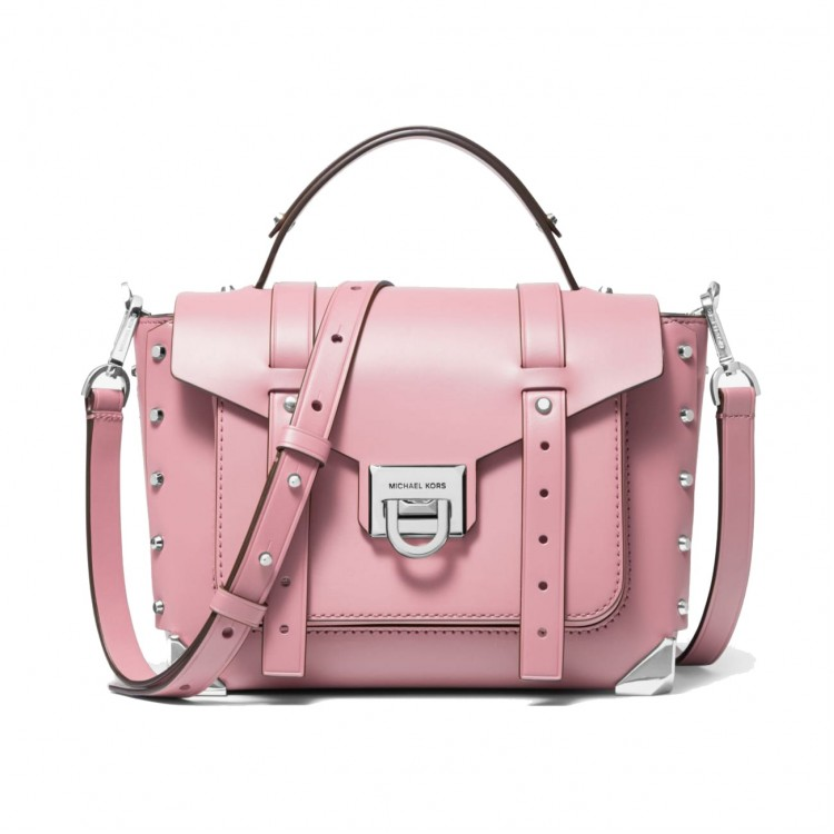 Сумка MICHAEL KORS Manhattan Medium Leather Satchel Розовая с серебром