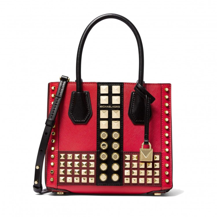 Сумка MICHAEL KORS Mercer Studded Crossbody красная