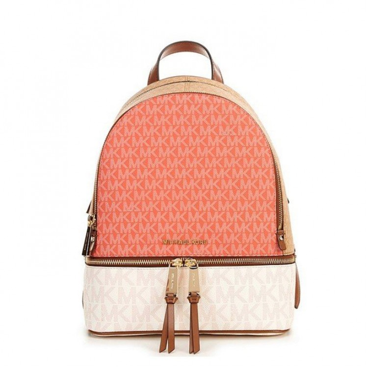 Рюкзак Michael Kors Rhea Medium Logo Backpack Color-block грейпфрут