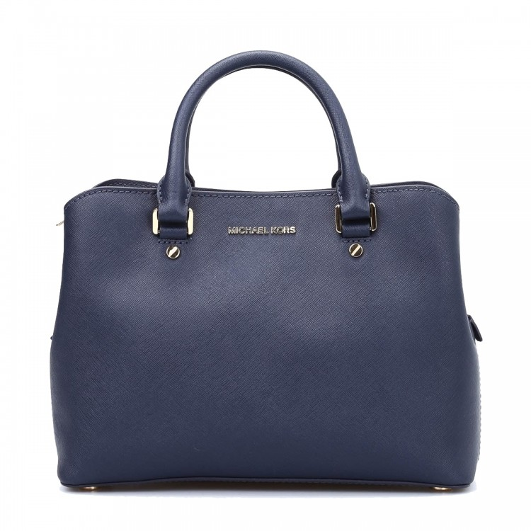 Сумка MICHAEL KORS Savannah  Medium Leather Satchel Темно-синяя