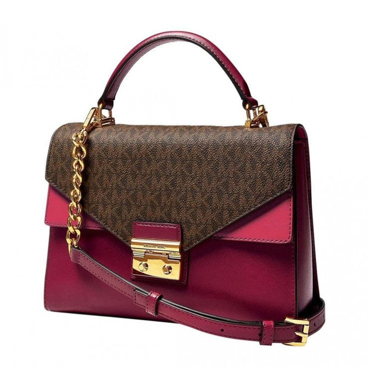 Сумка Michael Kors Sloan Editor Color-block Leather Вишневая