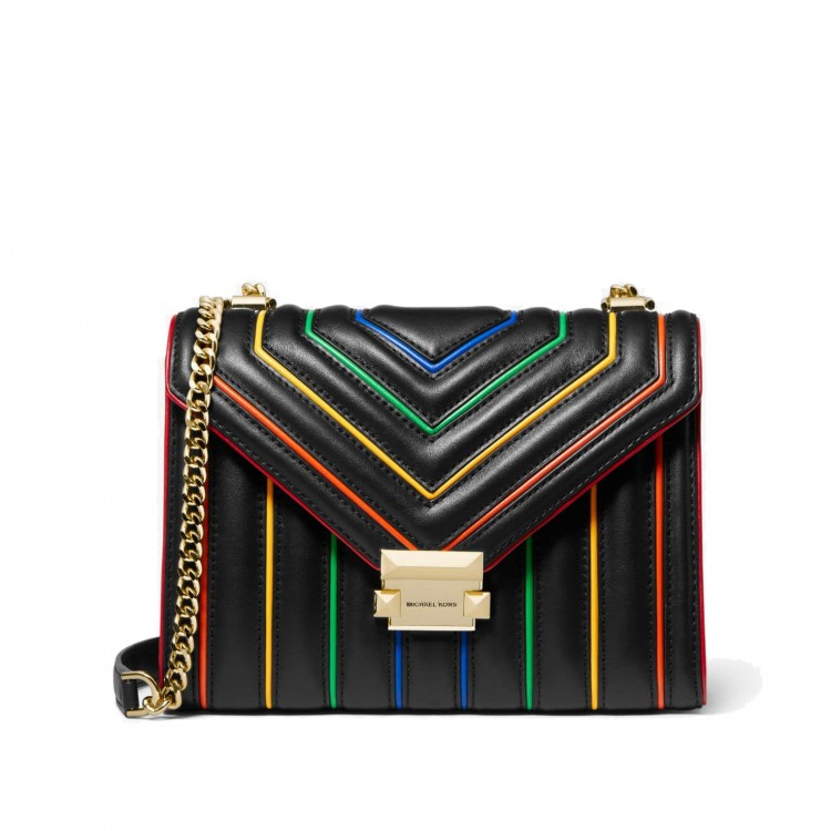 Сумка MICHAEL KORS Whitney Large Rainbow Quilted Leather Convertible Черная
