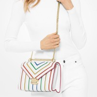 Сумка MICHAEL KORS Whitney Large Rainbow Quilted Leather Convertible Белая